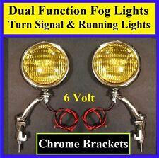 "6 Volt Turn Signal 5"" Amber Fog Running Lights & Chrome Brackets Universal 6v 2(Fits: More than one vehicle)"