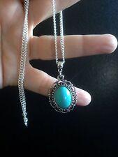 Vintage Effect Silver Turquoise Pendant Necklace Hippie Bohemian N1069