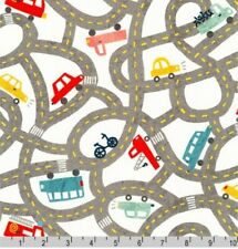 Robert Kaufman, Let's go, road, vehicle, car fabric by the FQ+