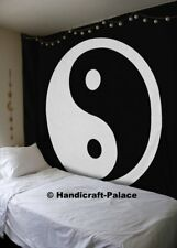 Yin Yang Tapestry Mandala Wall Hanging Indian Black White Throw Queen Bedspread