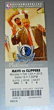 DALLAS MAVERICKS VS LA CLIPPERS~2/13/2012~FULL TICKET 2011 NBA CHAMPIONS SUITE