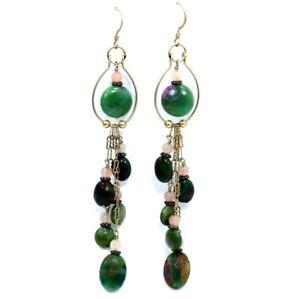"""FUCHSITE & Rose QUARTZ Gold Filled 4-1/8"""" LONG Chandelier Dangling Earrings"""