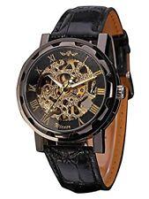 Reloj Pulsera Jechin para hombre Negro Esqueleto Cuadrante a mano terminan Cuero PU Mecánico
