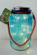 Solar Garden Lantern Light Glass Jar Hanging & Rope Handle 20 LED Lamp Blue