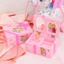 GIRLS PINK BALLERINA KIDS MUSICAL BOX JEWELRY & TRINKET MIRROR + PHOTO HOLDER