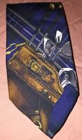 Polo by Ralph Lauren Men's Golf Themed 100% Silk Neck Tie made by hand Navy Blue