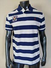 Polo Ralph Lauren Mesh Polo Shirt M Eton Field Custom Slim Fit Blue Striped NWT