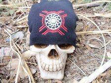 dfb120c0201 black sun white with red flag bars embroiderd beanie hat thors hammer asatru