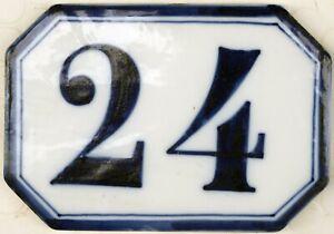 Antique French house number 24 large ceramic porcelain bone china Ginori C19th