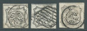 PAPAL STATES 1852 SG26 8b x 3 good to fine used