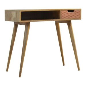 Solid Wood Perforated Copper Writing Desk 1 Drawer and Open Slot H80xW88xD45cm