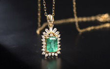 """Estate 2.50 CT Emerald & Diamond Pendant Necklace 18"""" In 14K Yellow Gold Over"""