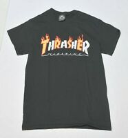 Men's THRASHER Skateboard Magazine Black T-Shirt Top Short Sleeve Size Small S