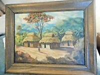 Vintage  Yopoz? Village Landscape Impressionist Oil on Canvas Painting 20 x 16
