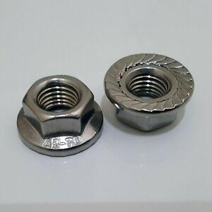 M10 X 1.25 Fine Pitch A2 Hex Flange Locking Nuts For Bikes Wheels Axles BMX MTB