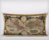 Vintage World Map Long Cushion Covers Pillow Cases Home Decor or Inner