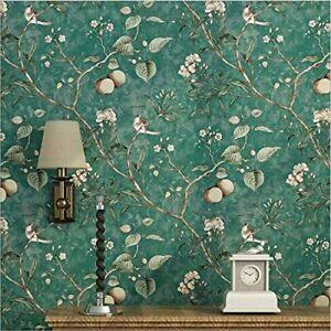 Green Teal Floral Sticky Back Plastic Floral Bird Tree Fablon Art Deco Wallpaper
