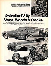 1973 MUSTANG FUNNY CAR - STONE * WOODS * COOK ~  ORIGINAL 2-PAGE ARTICLE / AD