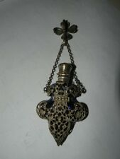 ANTIQUE COBALT GLASS  SILVER FILIGREE CHATELAINE PERFUME bottle FOB FLEUR DE LIS