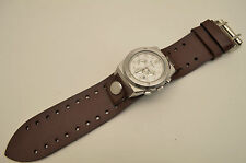 Brown wide Leather Bikers Watch Band strap  Buckle Punk Rock Skaters cuff  22mm