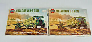 AIRFIX MATADOR TRUCK WITH 5.5 GUN KITS X 2  VERY GOOD BOXED 1:76 OO SCALE(QP)