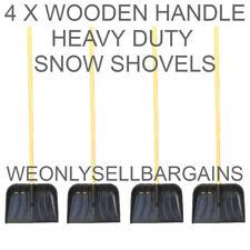 4 x Snow Shovel Heavy Duty Wooden Handle and Heavy Plastic Shovel