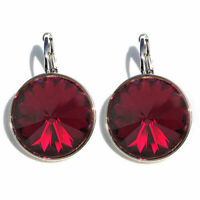 Large Round Bella Ruby-Red Earrings Made with SWAROVSKI Crystals®