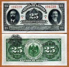 Mexico, Revolution, 25 Centavos, 1915, P-S1069,  Sonora, UNC