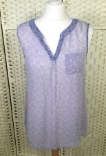 White Stuff Pale Blue Lightweight Summer Long Leaf Print Blouse Vest Top 10/12