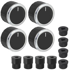 Universal Oven Switch Knob + Adaptors Set for Cooker Grill Hob Black x 4