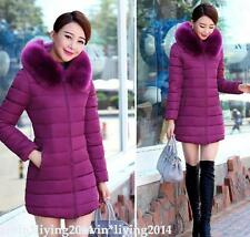 Fashion Winter Women Down Cotton Parka Long Fur Collar Hooded Coat Jacket