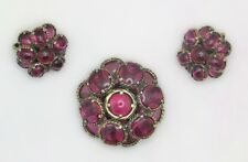 Trifari Cranberry Gripoix Poured Glass Brooch & Earrings Renaissance Collection