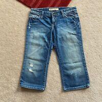 BKE Sabrina Womens 27 Distressed Capri Cropped Denim Jeans Act W 30.5 x I 18.5