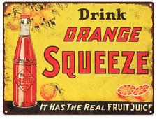 Orange Squeeze Soda Bottle POP Advertising Metal Reproduction Sign 9x12 60092