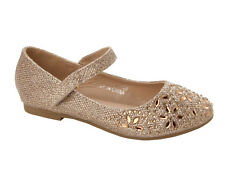 GIRLS GOLD GLITTER RHINESTONE BRIDESMAID WEDDING PARTY PUMPS SHOES UK SIZE 10-2