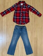 Justice Flannel Long Sleeve Plaid Shirt & Bootcut Blue Jeans Outfit Girls 7 Euc!