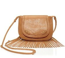 NWT JUICY COUTURE Heritage Leather Mini Crossbody Fringe Handbag Camel