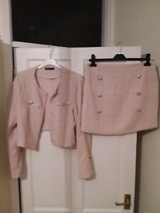 Boucle skirt suit, L (12). Pink and beige check pattern, 2 piece. Tweed look.
