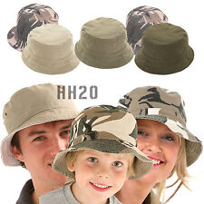 Bush Hat Camouflage Reversible Bucket Mens Ladies Surf Camo Sun Summer Fishing