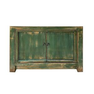 Oriental Distressed SemiGloss Teal Green Credenza Sideboard Table Cabinet cs6184