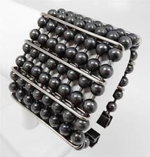 Vtg 80's Couture Premier Etage Paris Gunmetal Steel Bead Bracelet Claude Montana