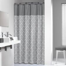 Extra Long Shower Curtain 72 X 78 Inch Sealskin Angoli Gray And White Fabric