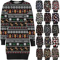 Ladies Womens Christmas Party Xmas Novelty Knitted Tunic Retro Dress Warm Jumper