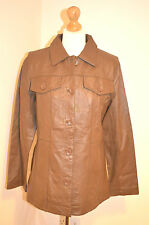 LADIES DESIGNER CENTIGRADE BROWN GENUINE100% LEATHER JACKET/COAT UK12  VGC
