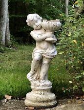 """Vtg 35"""" Standing CHERUB Angel White Garden Statue Yard Art Concrete/Cement"""