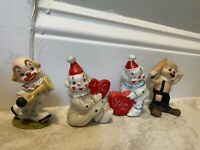 Vintage CLOWN Figurines Porcelain Lot of 4 Collectible Rare Circus Hobo 5
