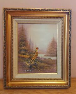 Original Vintage Oil Painting Framed + Signed P.White Pheasant Game Countryside