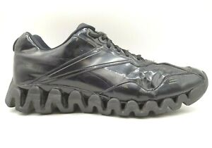 Reebok Zig Tech Black Patent Leather Lace Up Athletic Running Shoes Men's 14