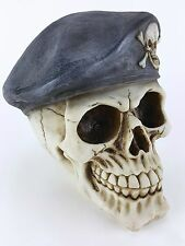 Collectible SKULL WITH MILITARY BERET Handpainted Resin Statue SPECIAL OPS