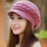 Knitted Winter Autumn Hats For Women Beanie Skullies Bonnet Warm Rabbit Wool Cap